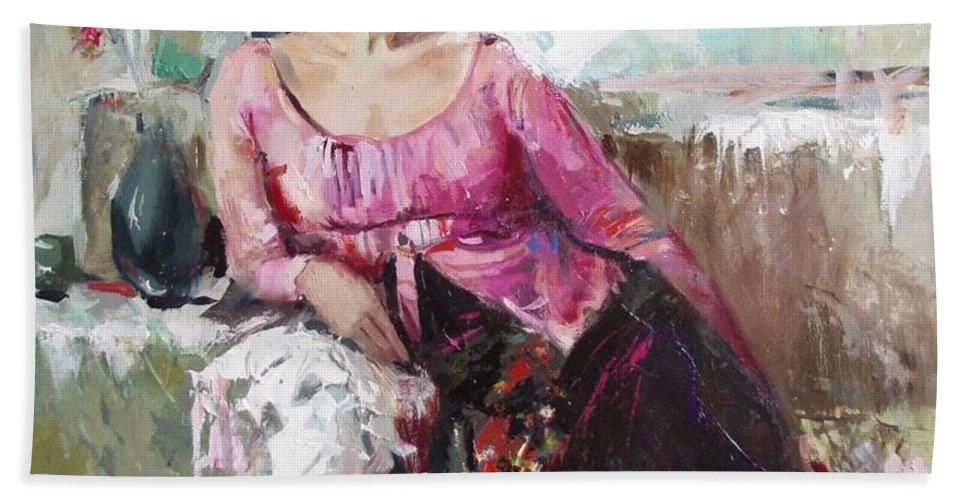 Ignatenko Hand Towel featuring the painting Lera by Sergey Ignatenko