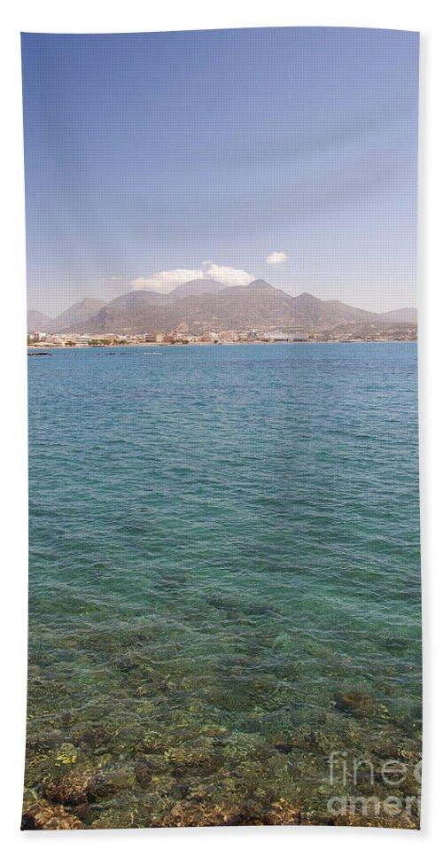 Postcard Bath Sheet featuring the photograph Lerapetra From Across The Bay by Antony McAulay