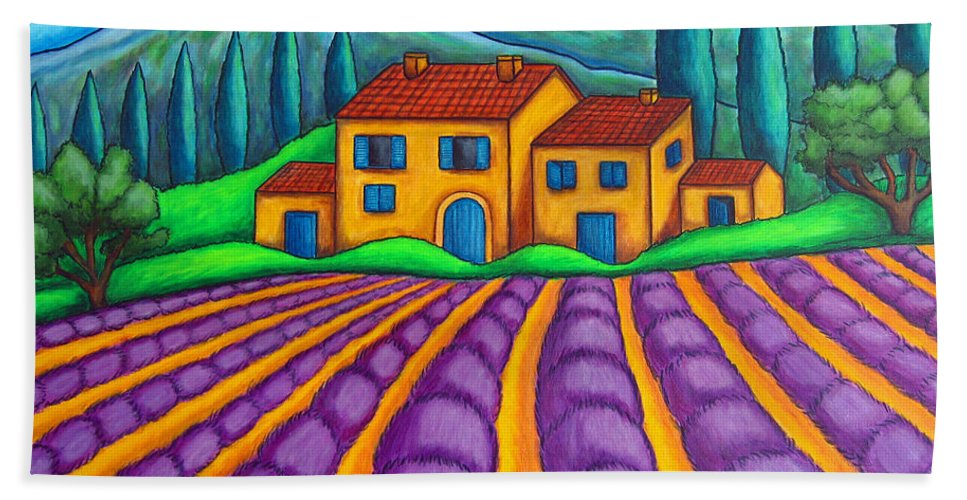 Provence Hand Towel featuring the painting Les Couleurs De Provence by Lisa Lorenz