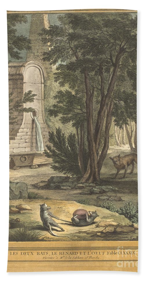 Hand Towel featuring the drawing Les Deux Rats, Le Renard Et L'oeuf (two Rats,the Fox, And The Egg) by Laurent Cars After Jean-baptiste Oudry