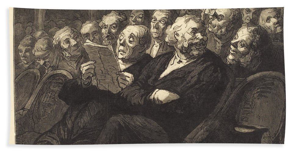 Hand Towel featuring the drawing Les Fauteuils D'orchestre by Auguste Lep?re After Honor? Daumier