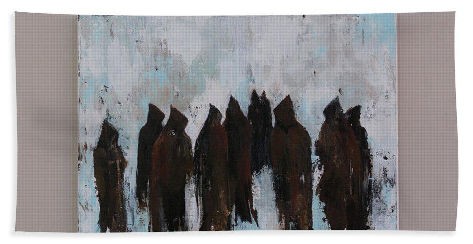 Monks Bath Sheet featuring the painting Les Moines De Notre Dame De Donezan by Suzanne J Blinder