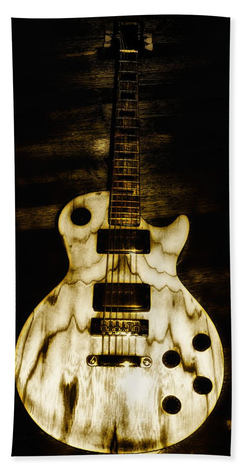 Les Paul Hand Towel featuring the photograph Les Paul Guitar by Bill Cannon