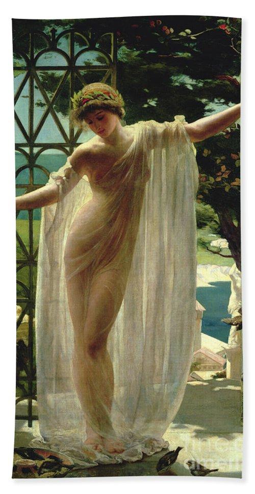 Lesbia Bath Towel featuring the painting Lesbia by John Reinhard Weguelin