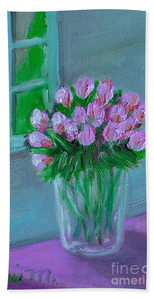 Rose Hand Towel featuring the painting Leslie's Roses by Laurie Morgan
