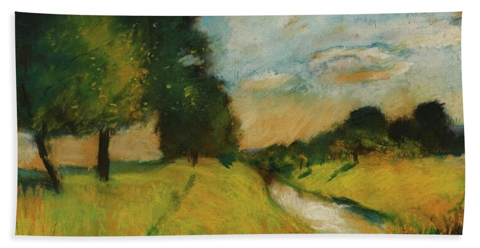 Lesser Ury 1861 - 1931 Flusslandschaft Hand Towel featuring the painting Lesser Ury by MotionAge Designs
