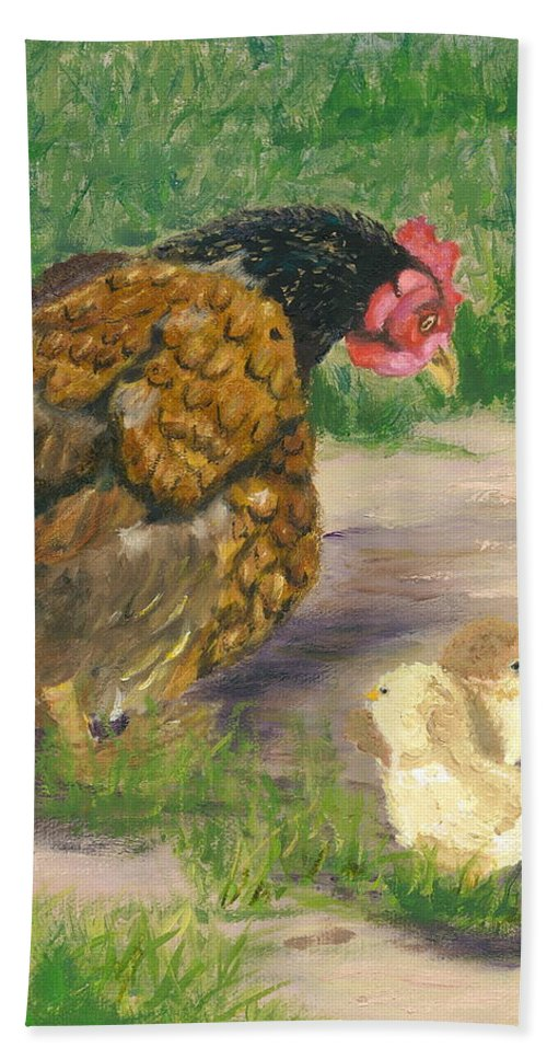 Cickens Chicks Hen Barnyard Bantams Farm Bucolic Nature Bath Towel featuring the painting Lesson Time by Paula Emery