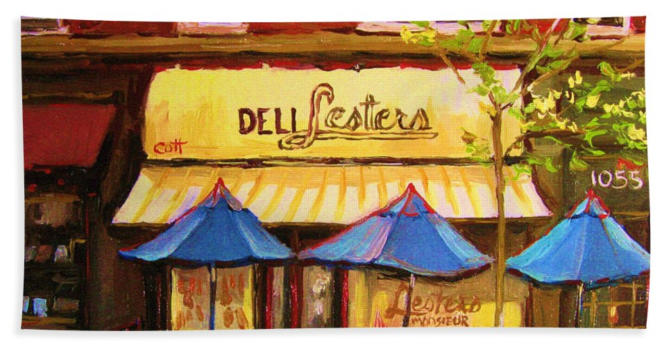 Lesters Deli Hand Towel featuring the painting Lesters Cafe by Carole Spandau