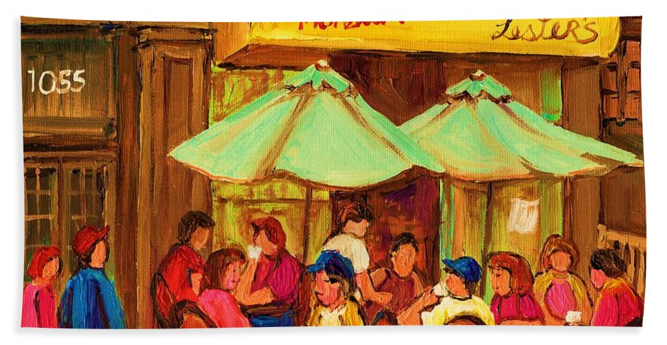 Lesters Monsieur Smoked Meat Cafe Hand Towel featuring the painting Lesters Monsieur Smoked Meat by Carole Spandau
