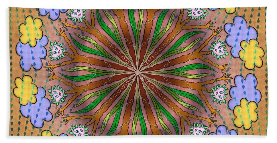 Whimsical Mandalas Bath Sheet featuring the digital art Let It Rain by Becky Titus