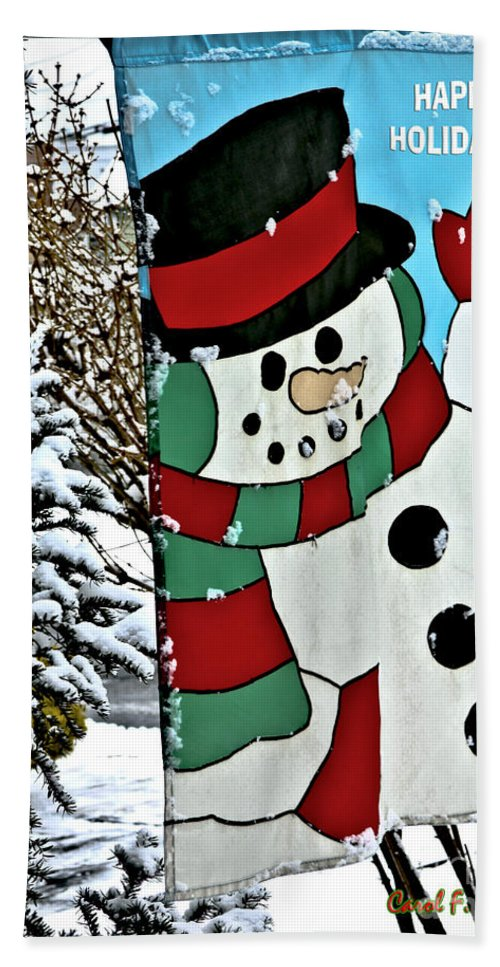 Let It Snow Hand Towel featuring the photograph Let It Snow - Happy Holidays by Carol F Austin