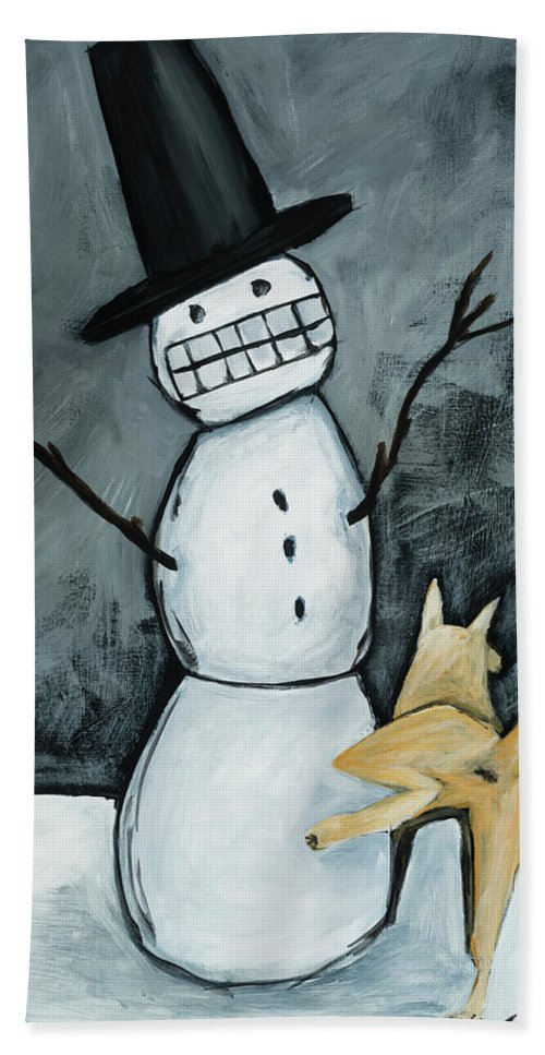 Snow Man Hand Towel featuring the painting Let It Snow, Let It Snow, Let It Snow by Shari Michaud