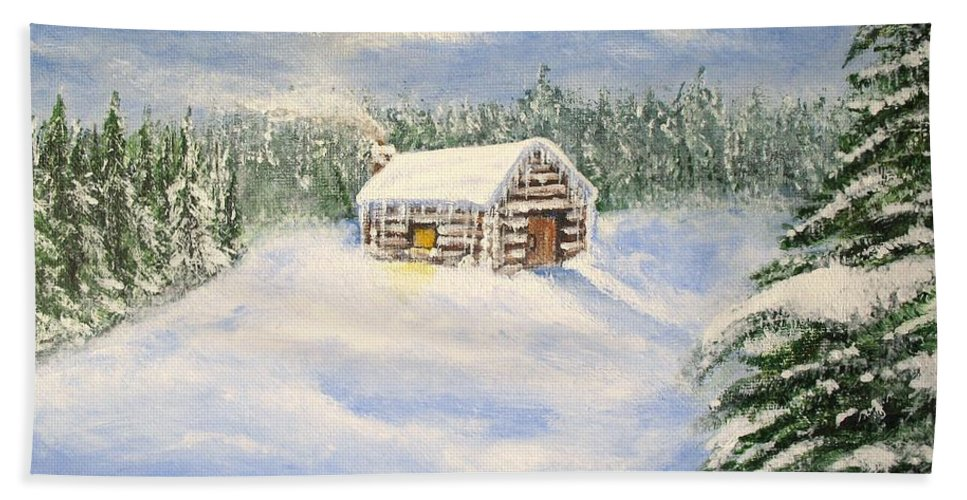 Log Cabin Bath Towel featuring the painting Let It Snow by Lisa Cini