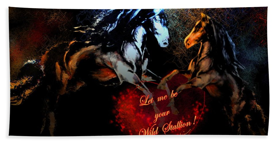 Love Bath Sheet featuring the painting Let Me Be Your Wild Stallion by Miki De Goodaboom