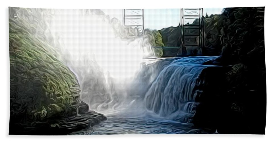Letchworth State Park Bath Sheet featuring the photograph Letchworth State Park Upper Falls And Railroad Trestle Abstract by Rose Santuci-Sofranko