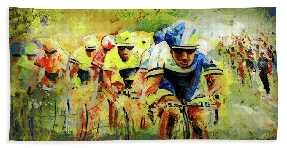 Sports Bath Sheet featuring the painting Letour De Force Madness by Miki De Goodaboom