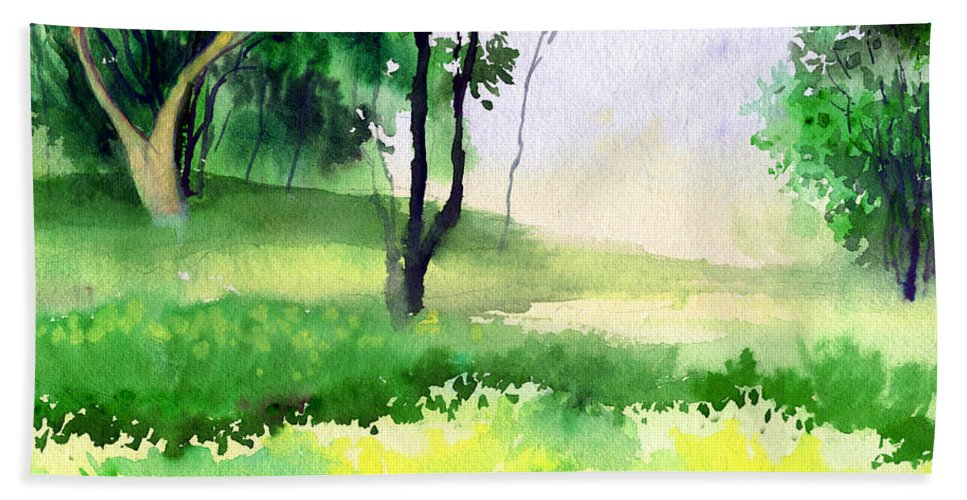 Watercolor Bath Towel featuring the painting Let's Go For A Walk by Anil Nene