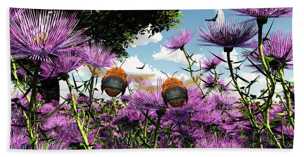 Bloom Bath Sheet featuring the digital art Two Bumblebees Discover The World by Max Steinwald