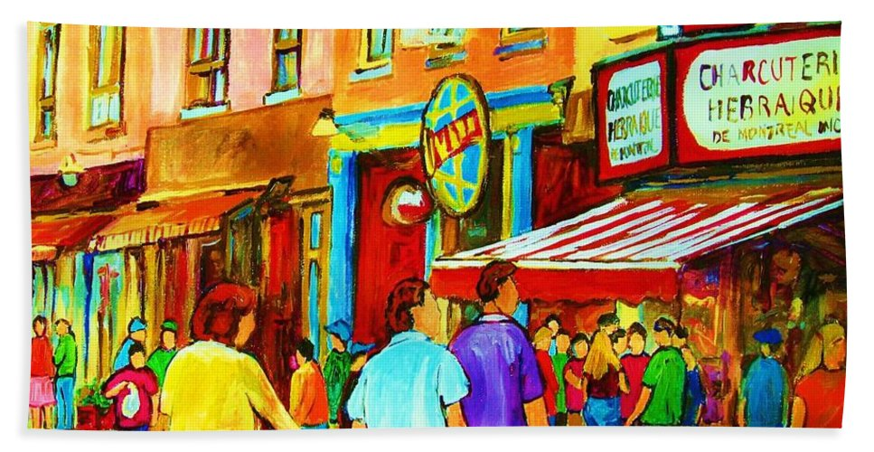 Cityscape Bath Towel featuring the painting Lets Meet For Lunch by Carole Spandau