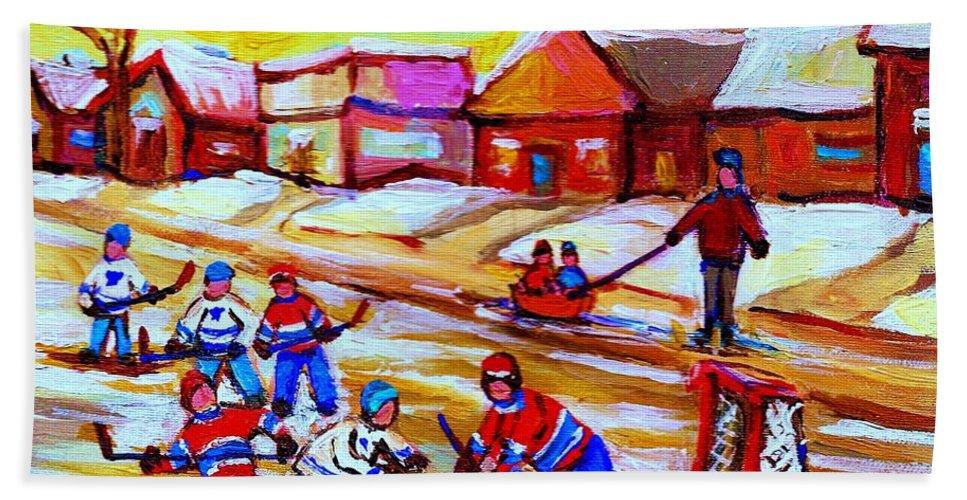 Hockey Canvas Prints Bath Sheet featuring the painting Lets Play Hockey by Carole Spandau
