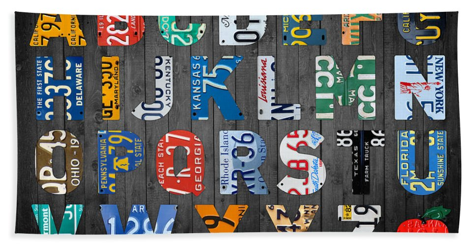 Letters Hand Towel featuring the mixed media Letters Of The Alphabet Recycled Vintage License Plate Art With Apple Colorful School Nursery Kids Room Print by Design Turnpike