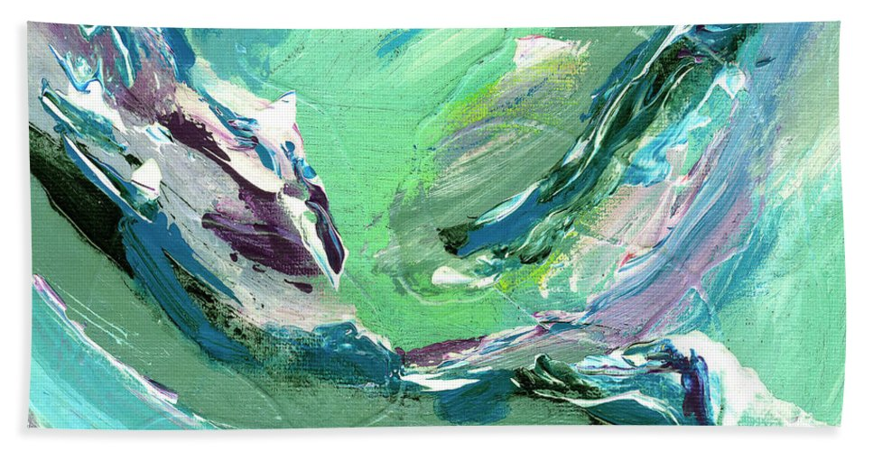 Abstract Hand Towel featuring the painting Levee Breach by Dominic Piperata