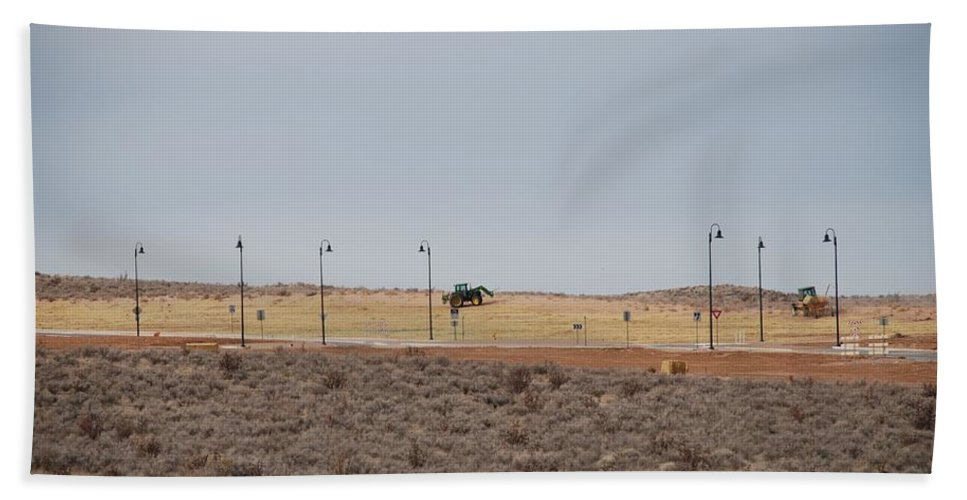 Trackor Hand Towel featuring the photograph Levels Of Land by Rob Hans