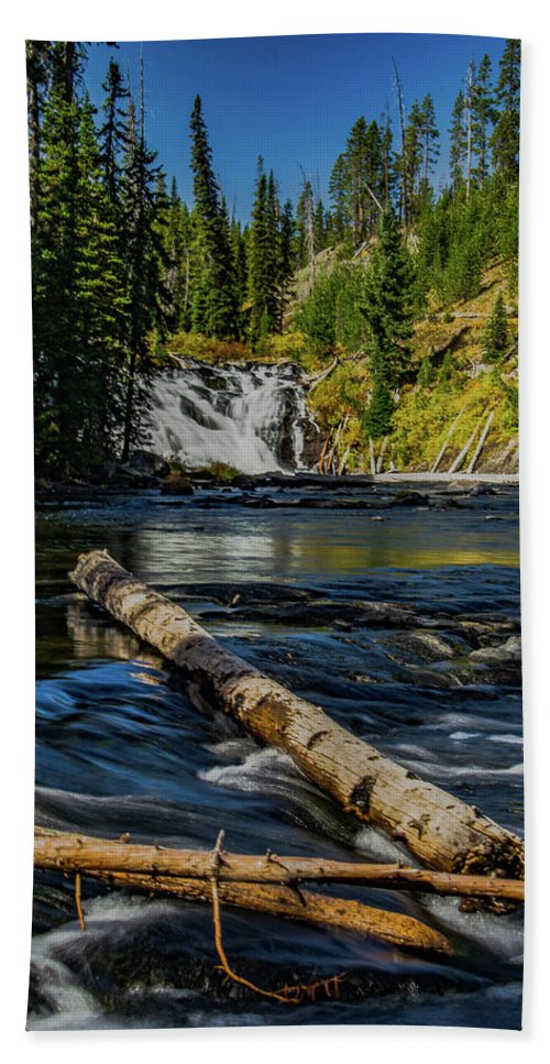 Yellowstone Bath Sheet featuring the photograph Lewis Falls by Lowlight Images