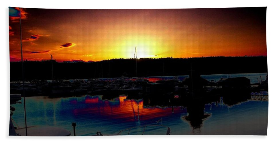 Sunset Bath Towel featuring the photograph Liberty Bay Sunset by Tim Allen