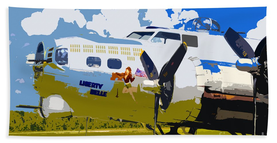 Flying Fortress Hand Towel featuring the photograph Liberty Belle by David Lee Thompson