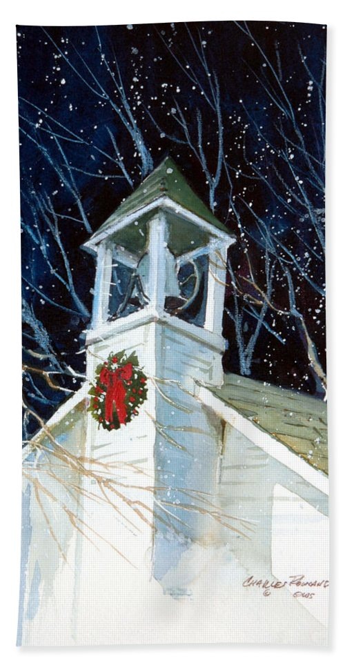 Liberty. Liberty Barn Church. Christmas Bath Towel featuring the painting Liberty Christmas by Charles Rowland