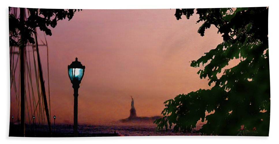 Seascape Hand Towel featuring the digital art Liberty Fading Seascape by Steve Karol