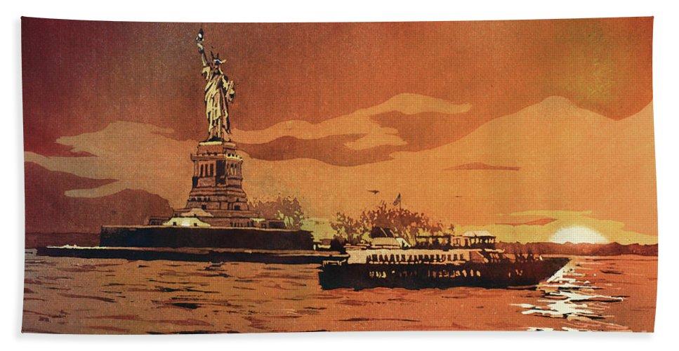 Blue Bath Sheet featuring the painting Liberty Island- New York by Ryan Fox