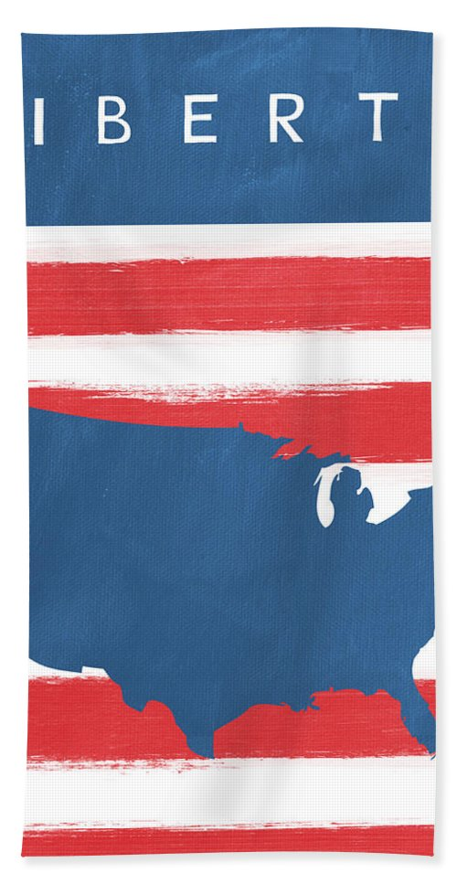 Liberty Bath Towel featuring the painting Liberty by Linda Woods