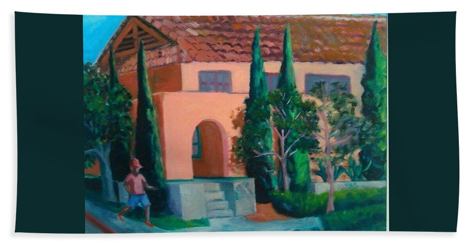 Landscape Bath Towel featuring the painting Liberty Station by Andrew Johnson