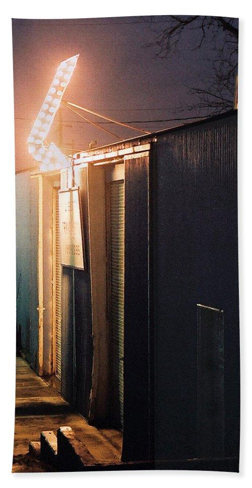 Night Scene Bath Towel featuring the photograph Liberty by Steve Karol