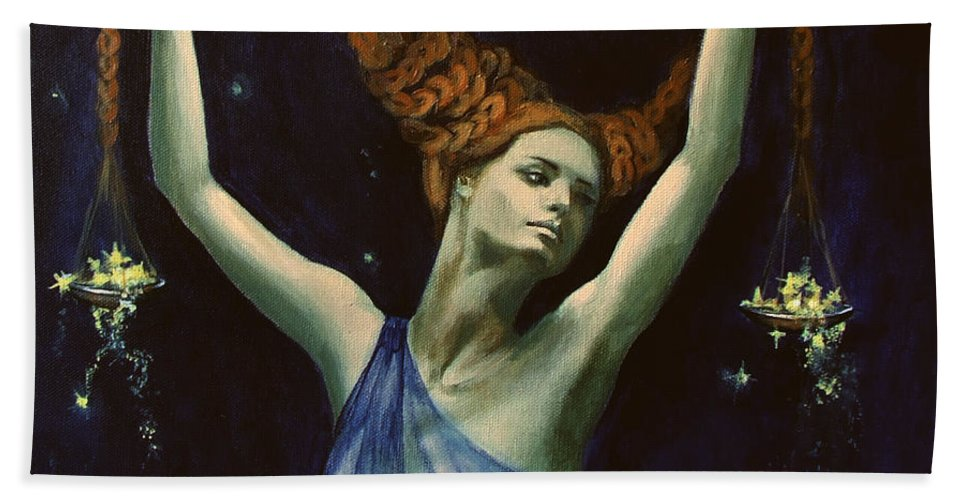 Art Bath Sheet featuring the painting Libra From Zodiac Series by Dorina Costras