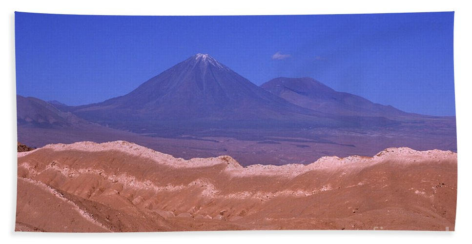 Chile Bath Towel featuring the photograph Licancabur Volcano Seen From The Atacama Desert Chile by James Brunker