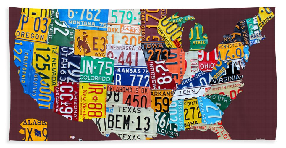 Art Bath Towel featuring the mixed media License Plate Map Of The United States by Design Turnpike