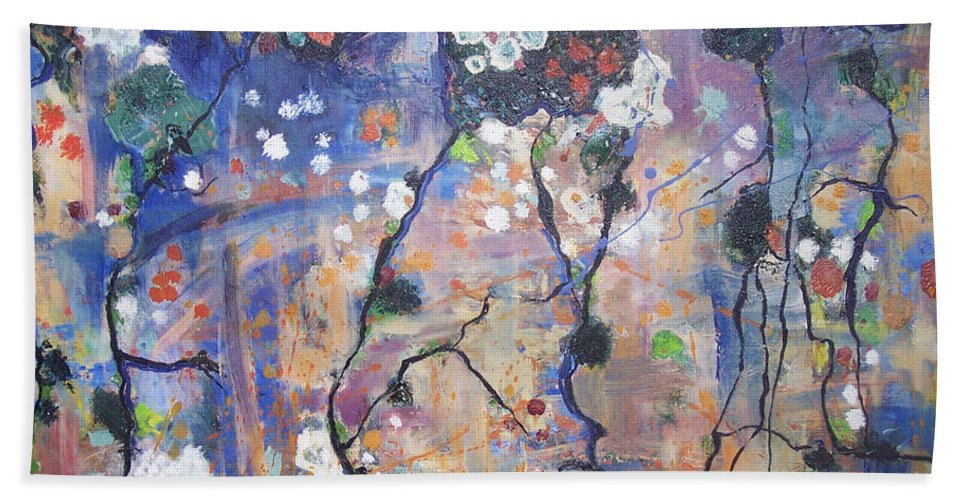 Lichen Paintings Hand Towel featuring the painting Lichen by Seon-Jeong Kim