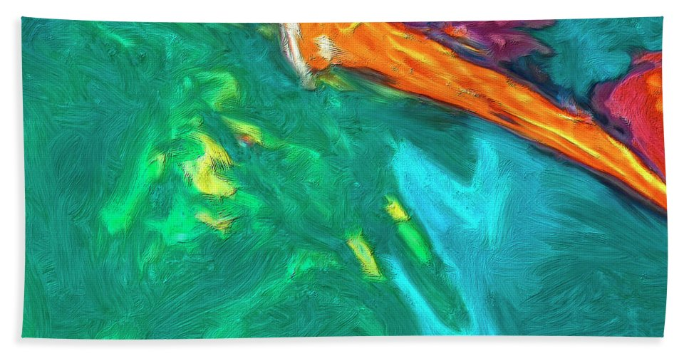 Abstract Hand Towel featuring the painting Lies Beneath by Dominic Piperata