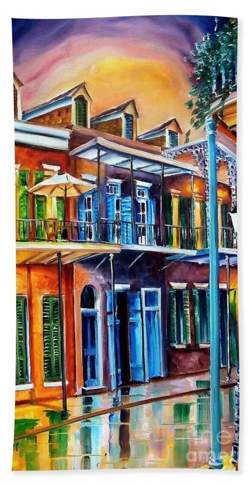 New Orleans Hand Towel featuring the painting Life After Dark by Diane Millsap