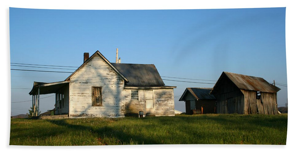 Old House Barn Life Past Age Forgotten Forget Time Left Leave Blue Green White Kentucky Ky Country Hand Towel featuring the photograph Life Behind by Andrei Shliakhau
