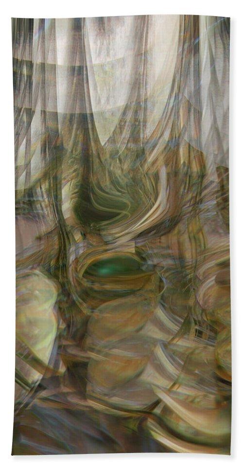 Abstract Art Bath Towel featuring the digital art Life Forms by Linda Sannuti