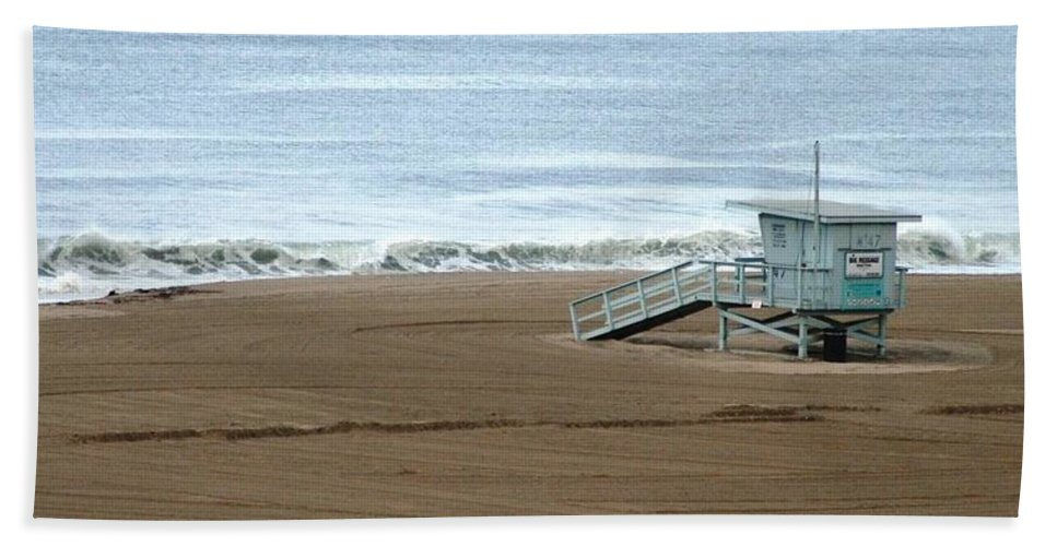 Beach Bath Sheet featuring the photograph Life Guard Stand - Color by Shari Chavira