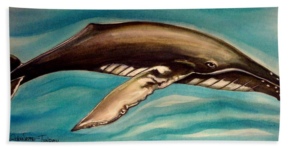 Whale Hand Towel featuring the painting Life In The Ocean by Elizabeth Robinette Tyndall