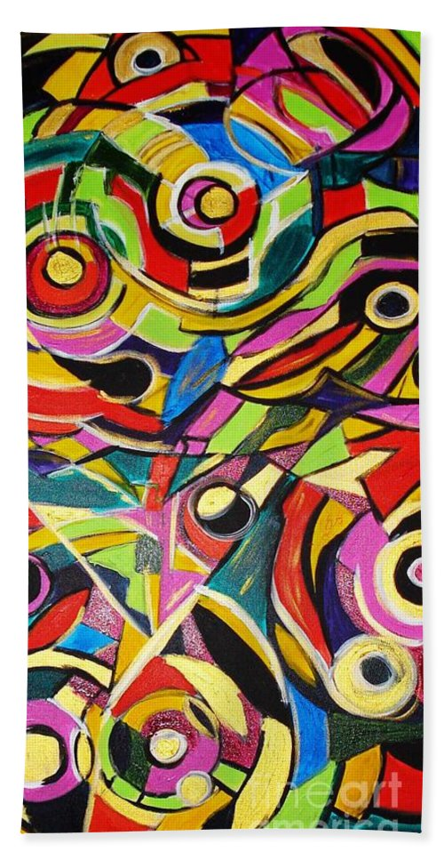 Paintings Bath Towel featuring the painting Life Is A Puzzle by Yael VanGruber