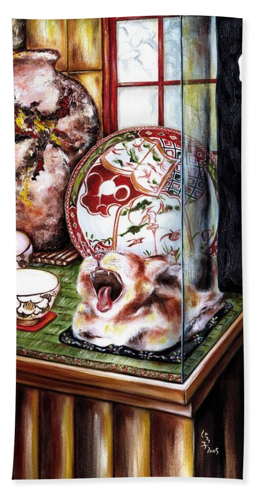 Cat Bath Sheet featuring the painting Life Is Beautiful by Hiroko Sakai