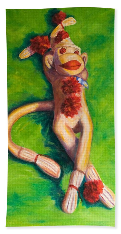 Sock Monkey Bath Sheet featuring the painting Life Is Good by Shannon Grissom