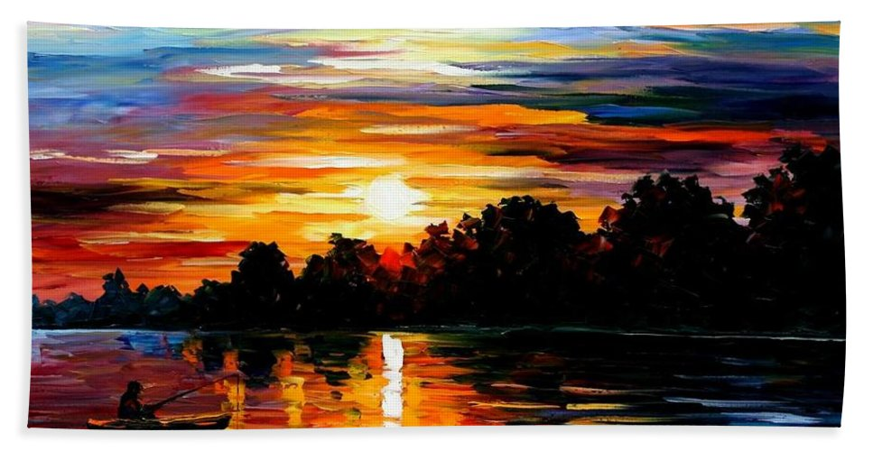 Afremov Hand Towel featuring the painting Life Memories by Leonid Afremov